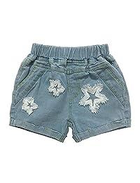 MAOMAHREWW Unisex Babys Denim Pants Girls Flower Printing Design With Elastic Waist Cotton Short Pants Casual Playwear Girls Daily Outfit Fashion Wild Casual Girls Denim Shorts