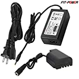 FIT-POWER DMW-DCC12 AC Adapter kit -- DMW-DCC12 DC Coupler + DMW-AC8 AC Adapter ( Panasonic BLF-19 Battery Replacement ) for Panasonic DMC-GH3 DMC-GH4 DMC-GH3K DMC-GH4K DC-GH5 digital Camera