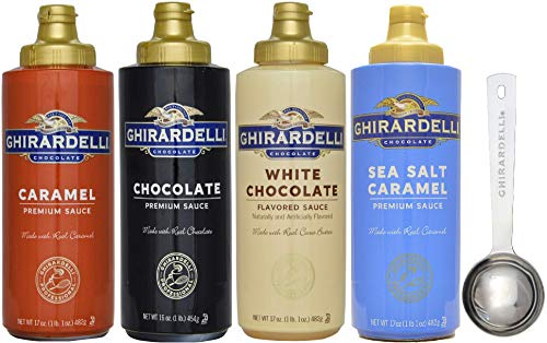 Ghirardelli - Caramel, Chocolate, White Chocolate and Sea Salt Caramel Flavored Sauce (Set of 4) - with Limited Edition Measuring Spoon -