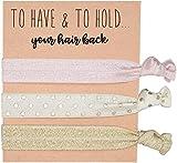 Pack of 10 Rose Gold Bridesmaids Hair Ties & Bachelorette Hair Ties by Sola - Rose Gold Bachelorette Party Favors (30 total)