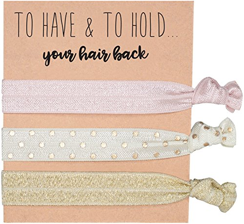 Pack of 6 Rose Gold Bridesmaids Hair Ties & Bachelorette Hair Ties by Sola - Bachelorette Party Favors by Sola HQ LLC