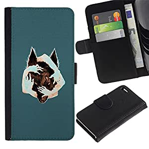 NEECELL GIFT forCITY // Billetera de cuero Caso Cubierta de protección Carcasa / Leather Wallet Case for Apple Iphone 4 / 4S // Arte surrealista Lobo