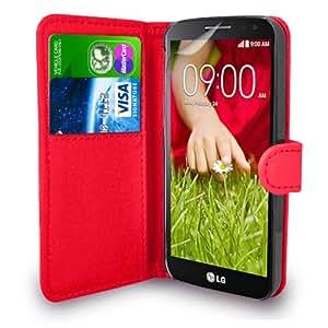 LG G2 Mini Rojo Cartera de cuero del caso del tirón de la cubierta Pouch + Protector de pantalla y paño de pulido