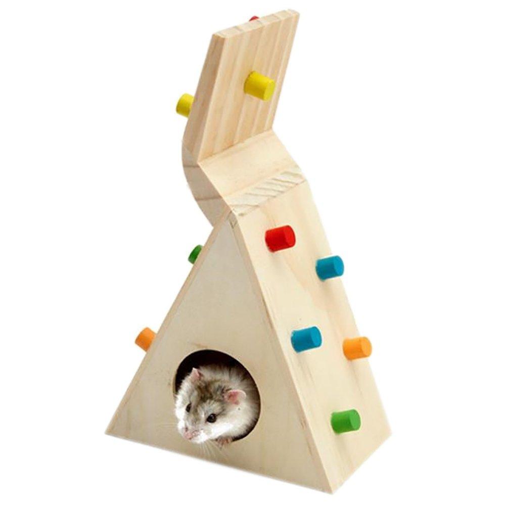 Namgiy jouet d'exercice pour hamster Maison Cage Nid rats écureuil Maison de escalade en bois pour animal domestique Fournitures 12, 4x 7, 1x 19, 8cm