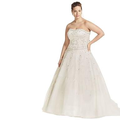 Davids bridal plus size oleg cassini satin and organza wedding plus size oleg cassini satin and organza wedding dress style 8ct258 ivory 14w junglespirit Images