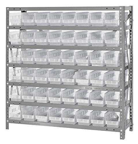 "Quantum Storage Systems 1239-101CL Clear-View Shelf and Bin Unit, 48 QSB101 Shelf Bins, 12"" D x 36"" W x 39"" H from Quantum Storage Systems"