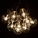 100 Foot G50 Patio Globe String Lights with 2 Inch Clear Bulbs for Outdoor String Lighting (Black Wire)