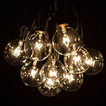 This Item 100 Foot G50 Patio Globe String Lights With 2 Inch Clear Bulbs  For Outdoor String Lighting (Black Wire)