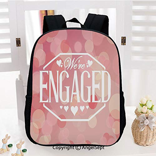 - Kids Backpack Children Bookbag Engagement Party cards with Blurry Abstract Circles Preschool Kindergarten Elementary School Travel Bag for Girls Boys,Salmon Pink and White