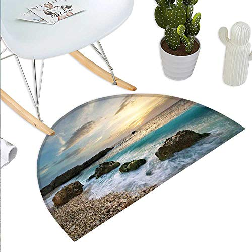 Ocean Semicircle Doormat Seascape Composition of Nature Rocks Waves Cloudy Sky Rising Sun Beach Photo Halfmoon doormats H 51.1