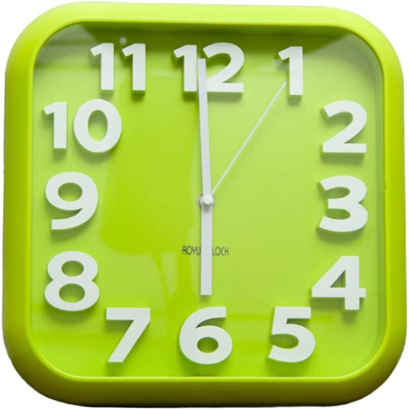 Plástico Cuadrado Reloj De Pared Sin Tic TAC, Minimalista Decoración Silencioso Cuarzo Reloj Grandes Números Arábigos Colgante Reloj De Hogar Oficina-Verde 12x12inch