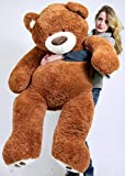 5 foot very big smiling teddy bear five feet tall caramel color with bigfoot paws giant stuffed