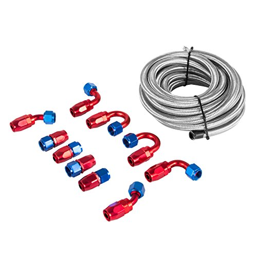 Happybuy AN8 16.4FT Fuel Line Hose Kit --- AN-8 Stainless Steel Nylon Braided Oil Fuel Line Hose 16.4FT + 10 PCS Aluminum Hose End Fitting Adapters Kit Fuel Line Kit (AN8 20Ft Silver) - Aluminum Braided Fuel Lines
