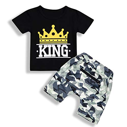 Toddle Baby Boy King Print Crown Pattern Short Sleeve T-Shirt Tops+Camo Pocket Short Pants Outfits (King, 4-5 Years)