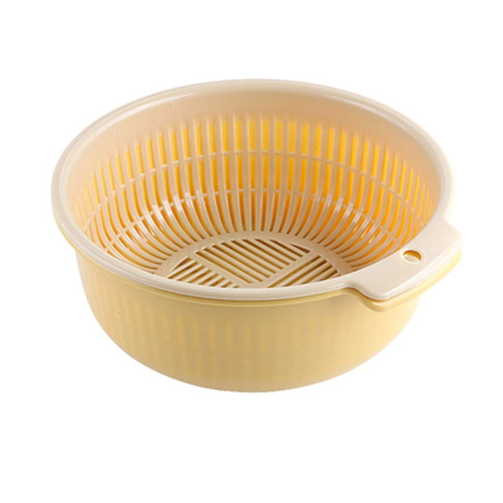 Kitchen Washing Basket, Household Washing Basket Double Fruit and Vegetable Washing Basket (Color : Beige)