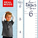 "Growth Chart Art | Wooden Ruler Height Growth Chart to Measure Children | White with Navy Numerals and Saying ""Love Grows Here"" 