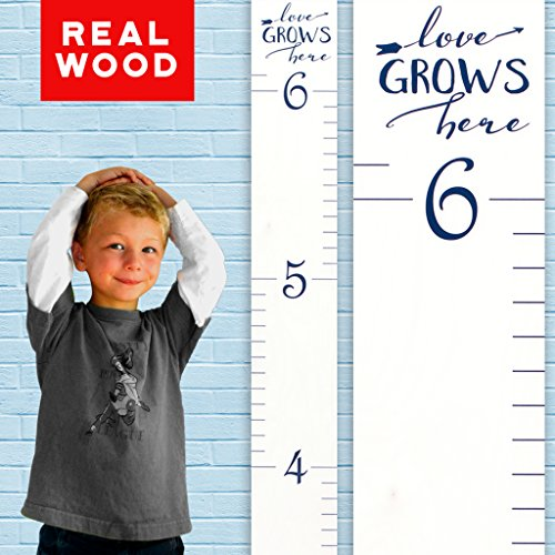 Growth Chart Art | Wooden Growth Chart Ruler Kids Height Chart for Boys + Girls | Measuring Kids Height Wall Décor | White with Navy Numerals and Saying