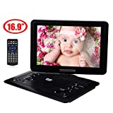YOOHOO 16.9'' Portable CD/DVD Player for Car with 14.1'' 270°Swivel High Definition LCD Screen,6 Hours Rechargeable Battery,Supports SD Card/USB/CD/DVD (Black)