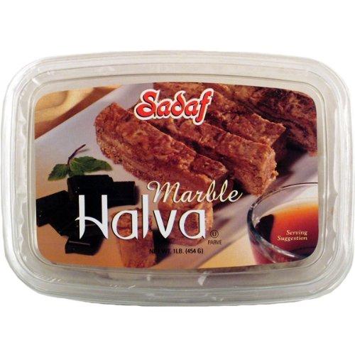 Sadaf Halva Marble Chocolate, 16-ounces (Pack of 4) by Sadaf