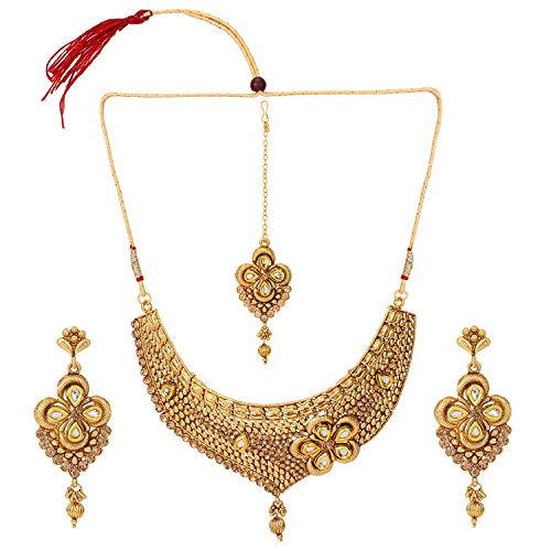 (Efulgenz Indian Bollywood Traditional White Rhinestone Faux Ruby Emerald Heavy Bridal Designer Jewelry Choker Necklace Set in Antique 18K Gold Tone for Women and Girls)