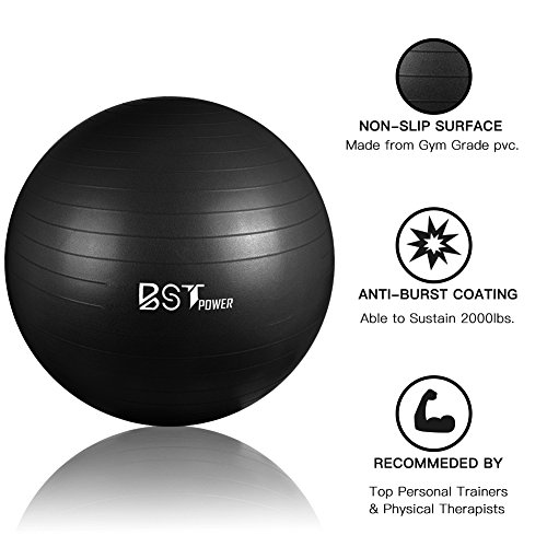 Fourheart Exercise Ball,Anti-Burst Slip-Resistant Extra Thick Balance Stability Yoga Ball(45-85cm),Supports 2000lbs with QuickFootPump,Perfect for Home Gym Core Strength Yoga Fitness (Black, 45cm)