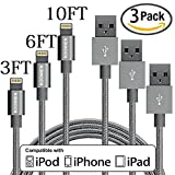 Iphone 6 Charger Best Deals - Lightning Cable, KOOWIEN 3Pack 3FT 6FT 10FT Popular Nylon Braided Charging Cable Extra Long 8pin USB Cord Charger for Apple iphone 7, 7plus, se, 6s, 6s plus, 6plus, 6,iPad Mini, Air,iPad5,iPod(Grey)