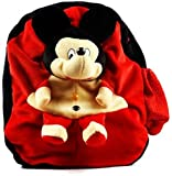 DZert Kid's Polyester Plush Soft Micky Cartoon Toy School Backpack (Red)