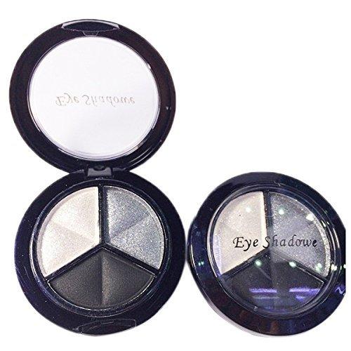Eyeshadow - TOOGOO(R)Professional Smoky Cosmetic Set 3 Colors Natural Matte Eyeshadow Makeup Tools Palette Naked Nude Eye Shadow Glitter #1 black + white + gray