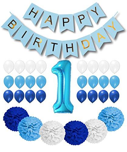(1st Birthday Boy Decorations - Royal Blue, Light Blue and White Happy Birthday Balloons / Blue Happy Birthday Banner / Blue Foil 1 Number Balloon / 6 Big)