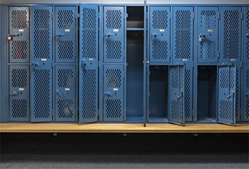 CSFOTO 7x5ft Background for Blue Lockers School Locker Photography Backdrop Old Painted Wood Bench Gym Locker Protection Public Room Safe Lock Student Storage Photo Studio Props Polyester Wallpaper -