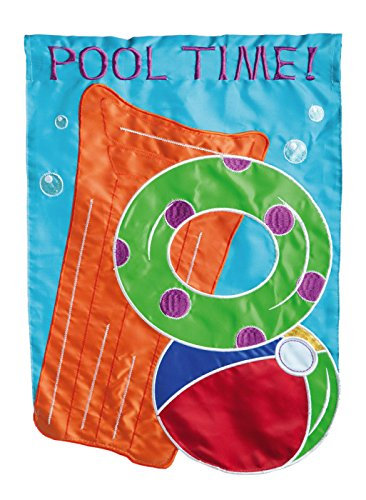 Evergreen Pool Time Double-Sided Appliqué Garden Flag - 12.5