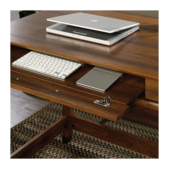 Sauder Carson Forge Writing Desk, Washington Cherry finish - Flip-down molding reveals slide-out shelf for keyboard/mouse or laptop Small drawer with metal runners and safety stops Finished on all sides for versatile placement - writing-desks, living-room-furniture, living-room - 51iAeOj1HrL. SS570  -