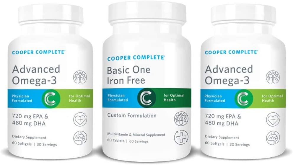 Cooper Complete – Basic One Multivitamin Iron Free – Daily Multivitamin and Mineral Supplement Plus Fish Oil Supplement – 60 Day Supply