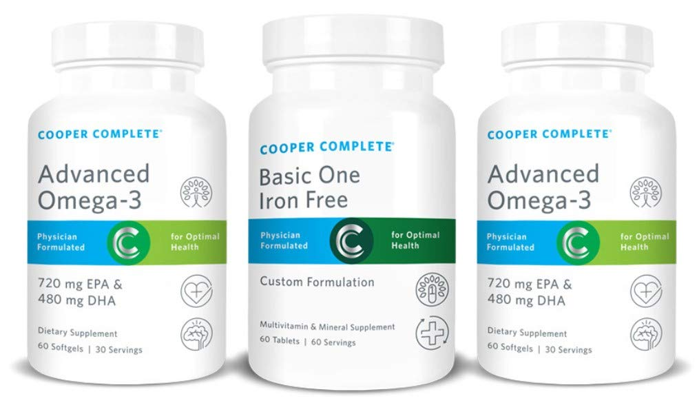 Cooper Complete - Basic One Multivitamin Iron Free - Daily Multivitamin and Mineral Supplement Plus Fish Oil Supplement - 60 Day Supply