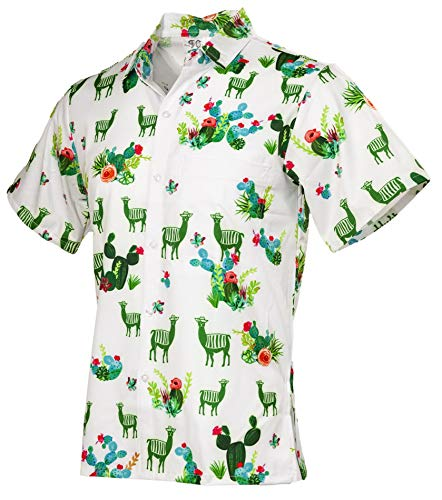 Funny Guy Mugs Men's Llama and Cactus Hawaiian Print Button Down Short Sleeve Shirt, 2X-Large