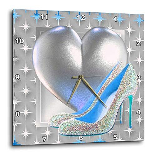 3dRose DPP_108156_1 Silver & Blue Toned Heart & Bling Shoe Wall Clock, 10 by 10