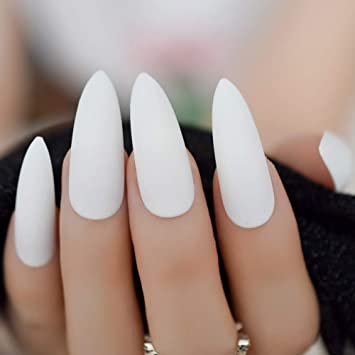 CoolNail Classic Pure White Nail Matte Stiletto Frosted False Fake Nail  Tips Extra Long Pointed Artificial Manicure Press On Wear Nails