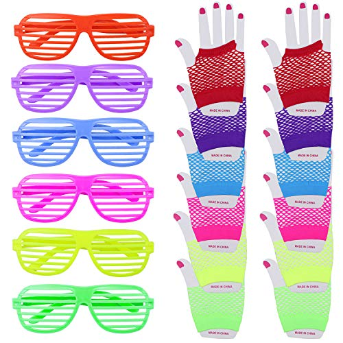 Dreamtop 80s Neon Necklaces and Bracelets Fishnet Gloves Bow Headband for 1980s Theme Party Supplies,Set of 11 -