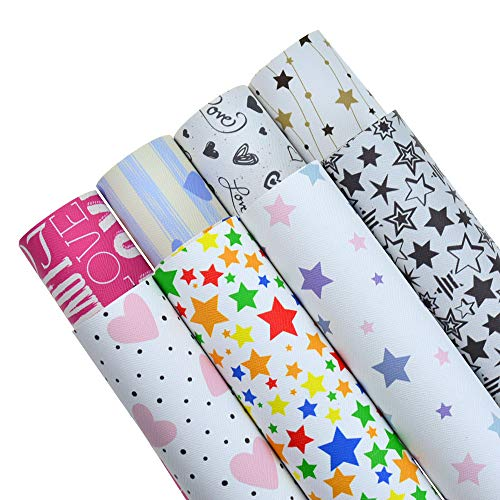 8 Patterns 8x12 Inch(21x30cm) Star Printed Faux Leather Fabric Sheets Canvas Back for Bows Earrings Ornaments Making DIY Projects, Each Sheet per Pattern, in Total 8 Sheets]()