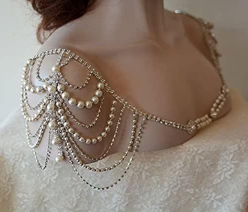 Pearl bridal applique Bridal beaded applique Bridal shoulder epaulettes Wedding dress lace Evening dress epaulettes Party dress patch