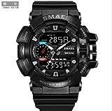 Psalmtrading SMAEL Men's/women's Sports Analog Quartz Watch Dual Display Waterproof Digital Watches with LED Backlight 1436 (black+gray)