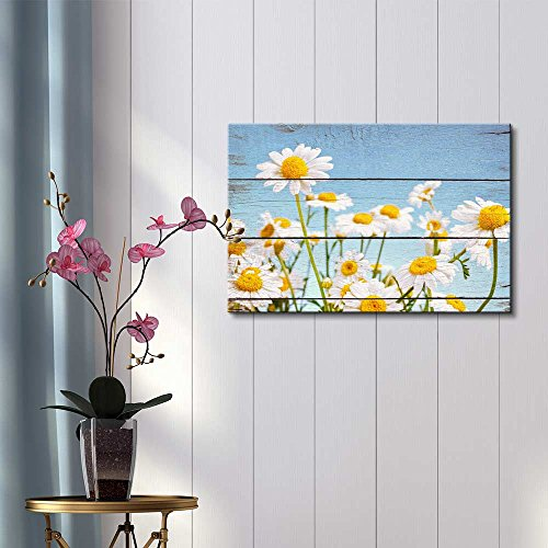 Wall26 Daisy Field in Bright Sun - Rustic Floral Arrangements - Pastels Colorful Beautiful - Wood Grain Antique - Canvas Art Home Decor - 32x48 inches