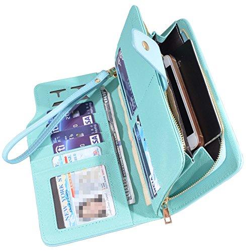 Women Lady Leather Wallet Zipper Purse RFID Credit Card Clutch Holder Case Girl (Blue Ladies Clutch Wallets)