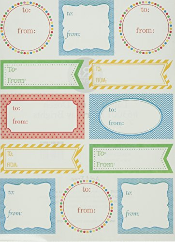 SRM Stickers Labels by the Dozen Brights (Gift Tag Sticker Labels)