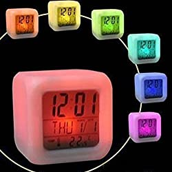Digital Alarm Clock 7 LED Colour Change with Temperature Alarm and Sleeping Function Night Glowing Cube LED Change LCD