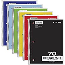 """TOPS 1-Subject Notebooks, Spiral, 8"""" x 10-1/2"""", College Rule, Color Assortment May Vary, 70 Sheets, 6 Pack (65007)"""