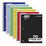 TOPS 1-Subject Notebooks Spiral 8inx10.5in College Rule 70-Sheet 6-Pack Deal