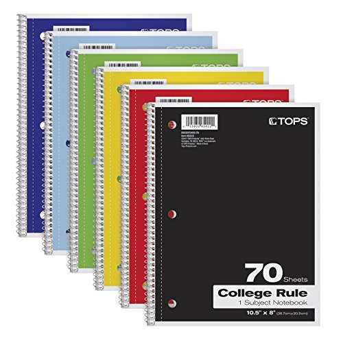 TOPS 1-Subject Notebooks, Spiral, 8