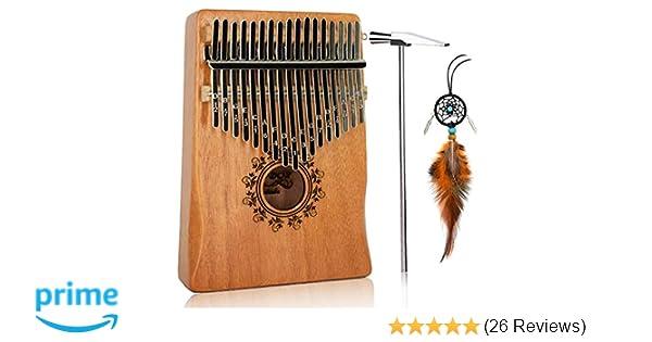 17 Key Kalimba Thumb Piano, BinDor Finger Piano Mbira Kalimba Solid  Mahogany Body Portable Easy-to-learn Musical Instrument with Tuning Hammer  (Wood