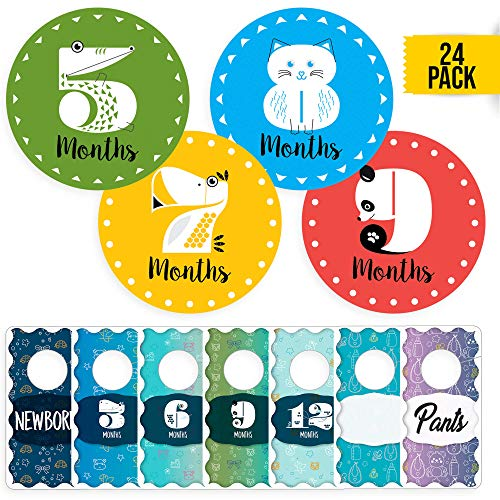 CORRURE 24 Pack Baby Monthly Stickers and Closet Size Dividers - Set of 12 Stickers for Baby's First Year + 12 Nursery Closet Organizer with Size from Newborn to 24 Month - Unisex Design
